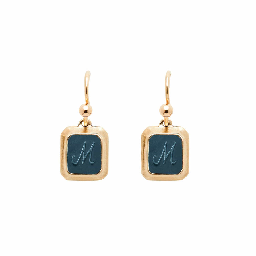 Indigo SIGNET BRONZE RECTANGLE EARRING CLAY INITIAL JCE353 Julie Cohn Design Artisan Bronze Jewelry Handmade