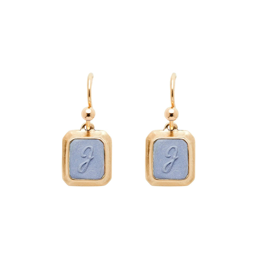 Wedgewood SIGNET BRONZE RECTANGLE EARRING CLAY INITIAL JCE354 Julie Cohn Design Artisan Bronze Jewelry Handmade