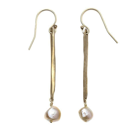 Twig White Pearl Earrings