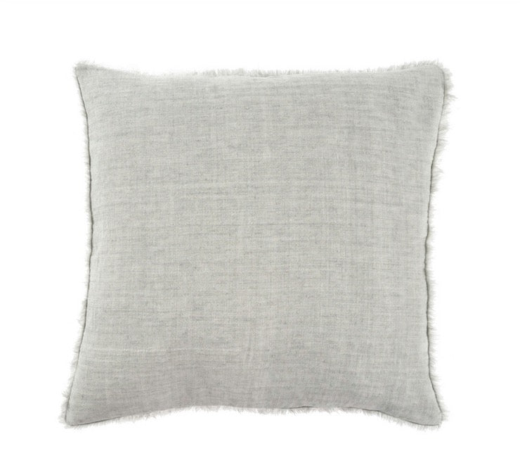 Lina Linen Pillow, Flint Gray