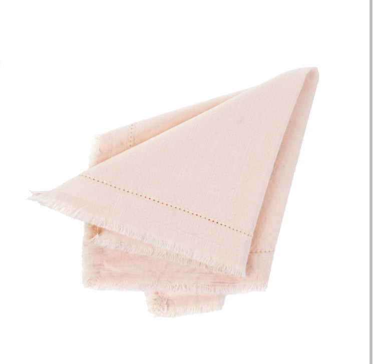 Frayed Edged Napkins Pink x6