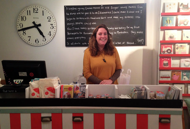 St Ives shop refit - Poppy behind the counter