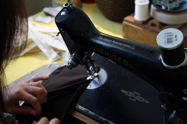Stitching the lining on a big useful purse