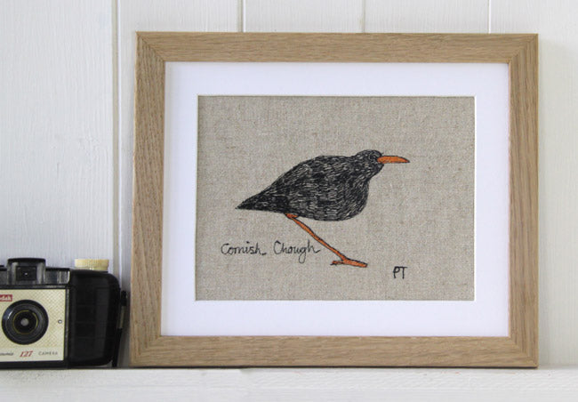 Cornish Chough embroidered picture