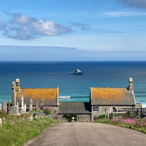 Warship in St Ives for G7