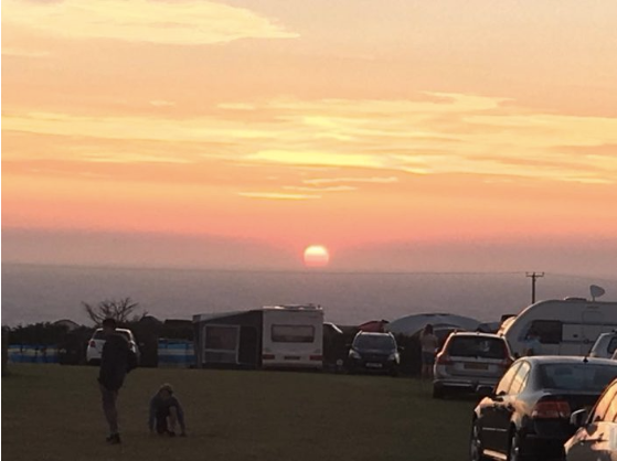 Sunset from Trevedra farm campsites cornwall