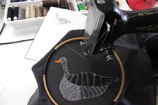 Grey goose embroidery on the machine