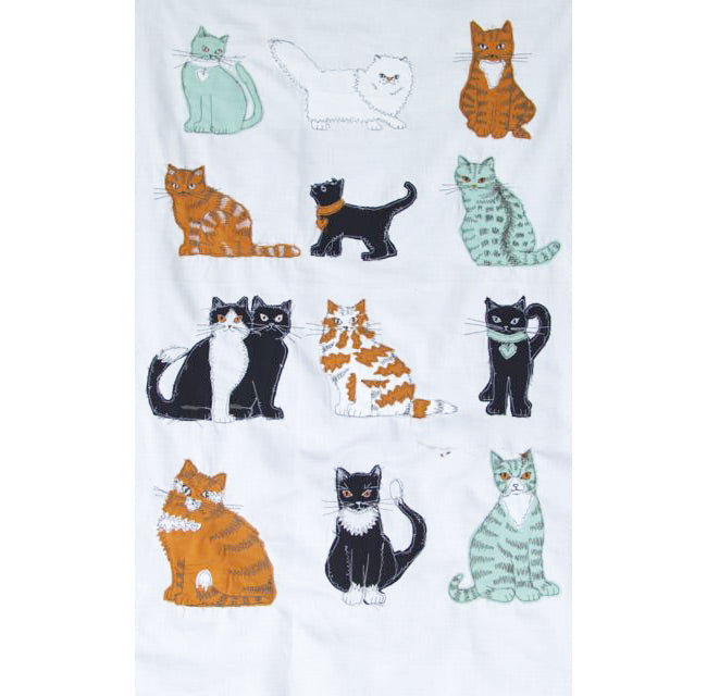 Cat tea towel embroidery