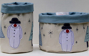 embroidered textile pots for christmas for Top Drawer