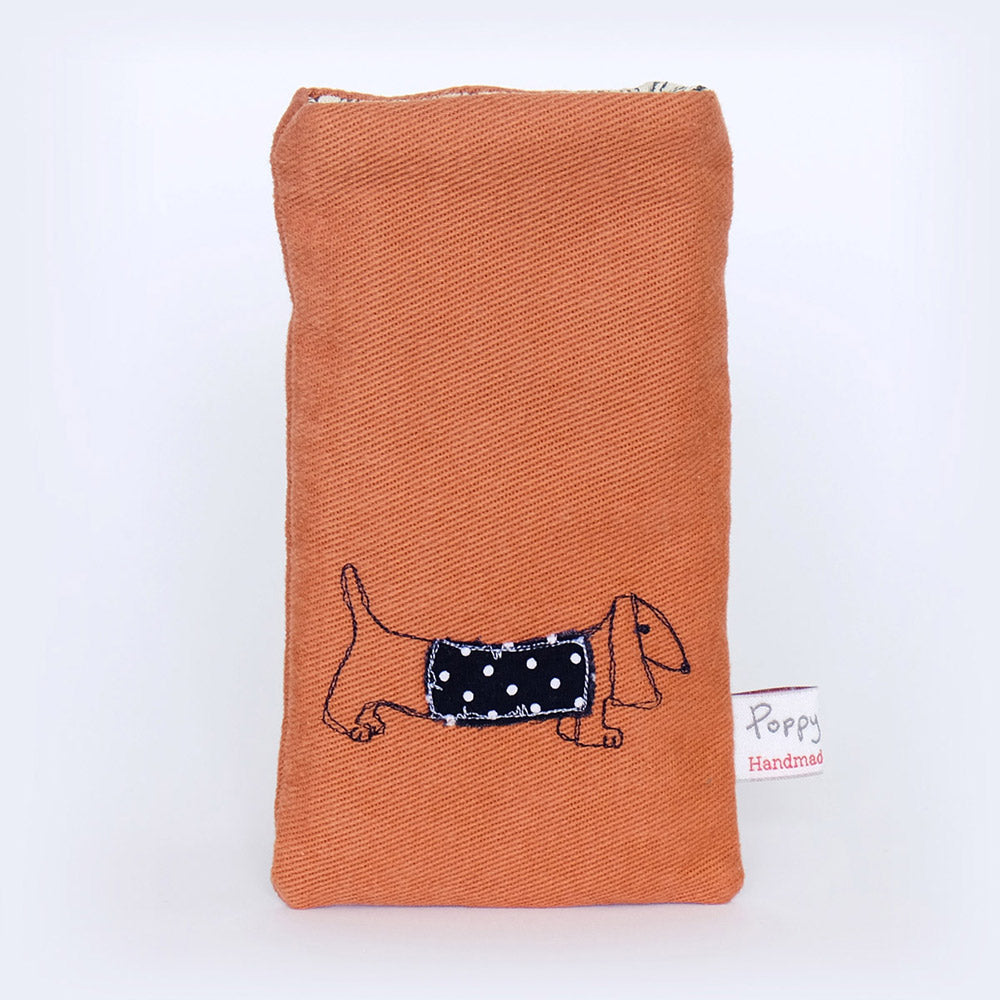 embroidered-phone-cosy-with-dachshund-by-poppy-treffry