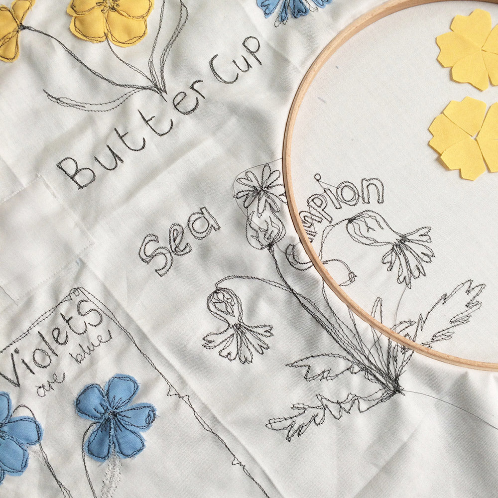 freehand machine embroidering flowers by poppy treffry