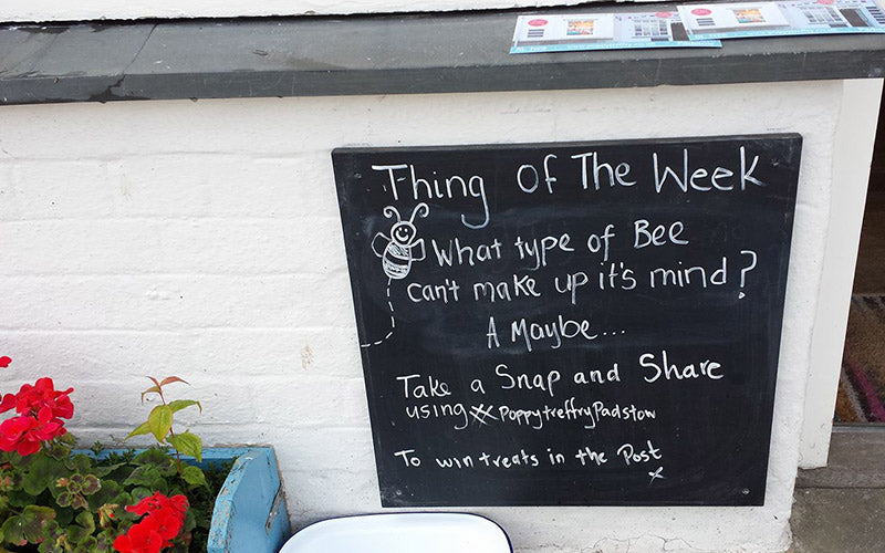 poppy Treffry padstow shop blackboard outside the shop