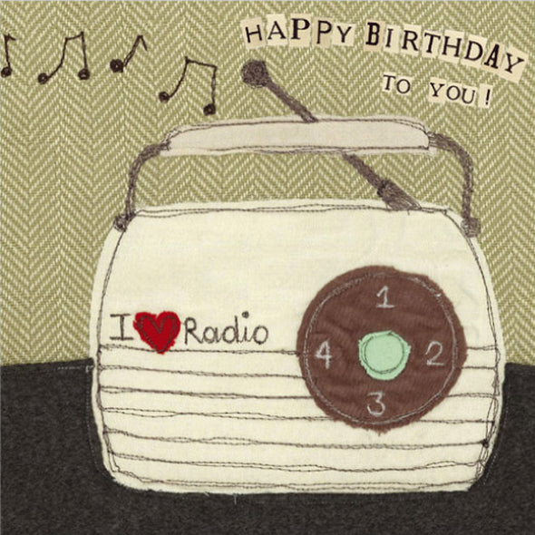 vintage radio birthday card