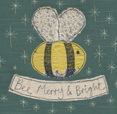 pack of 5 Christmas cards in bee design