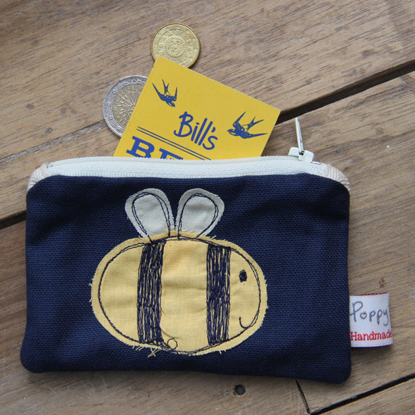 busy bee - embroidered small useful purse