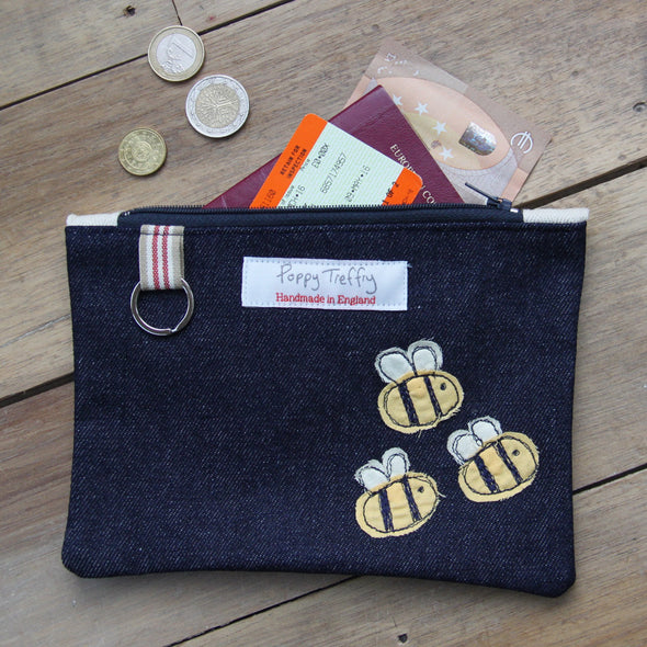 busy bee - flat embroidered purse with keyring