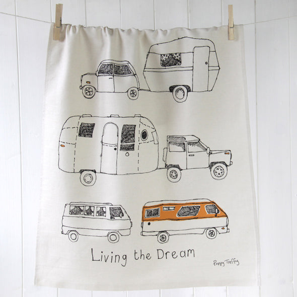 folded pegged tea towel with campervan