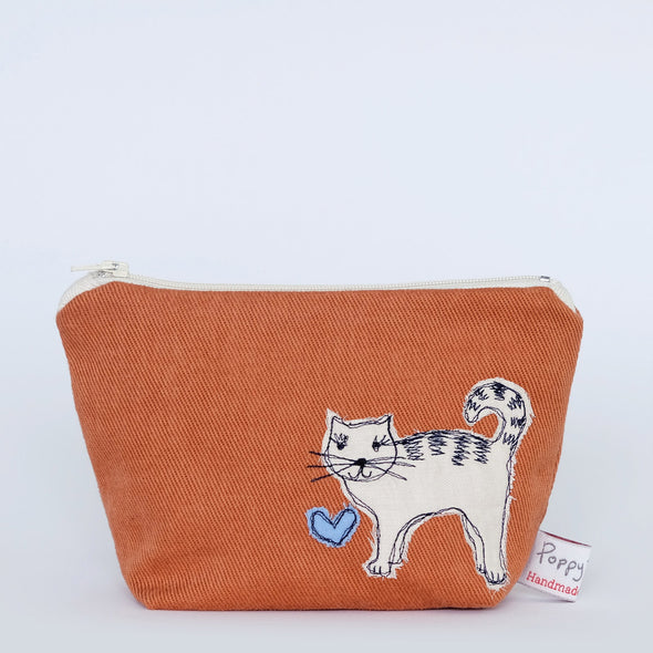 cat - little make up bag (orange)