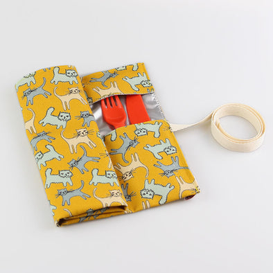 cats cutlery roll