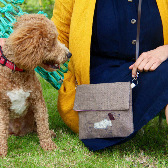 Dachshund - Embroidered love lane cross-body bag