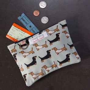 dachshund (duck egg) - flat purse with keyring