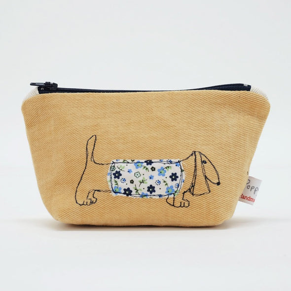 dachshund - little make up bag (yellow)