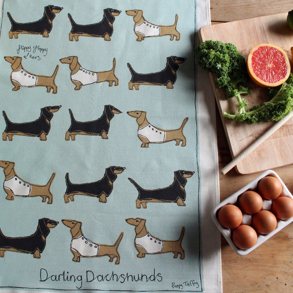 dachshunds - tea towel