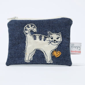 cat - embroidered small useful purse