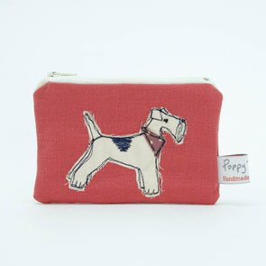 fox terrier - embroidered small useful purse (red)