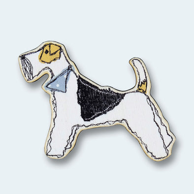 fox terrier - wooden magnet