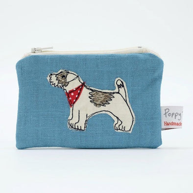 little dog - embroidered small useful purse