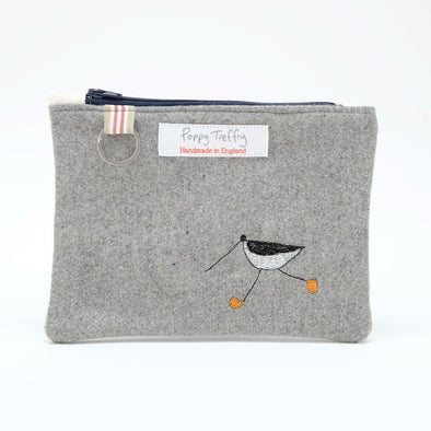 oystercatcher - flat embroidered purse with keyring