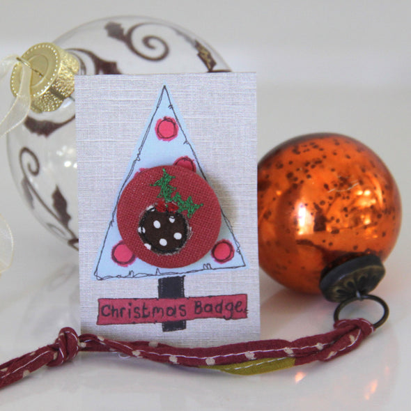 christmas pudding - pretty badge