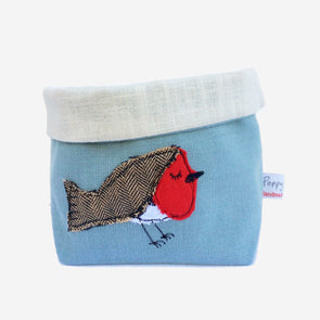 jolly robin - embroidered storage pot