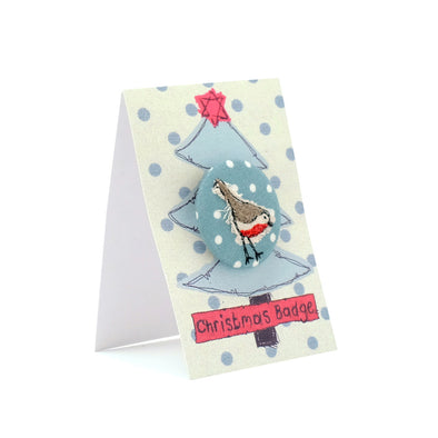 christmas robin - pretty badge