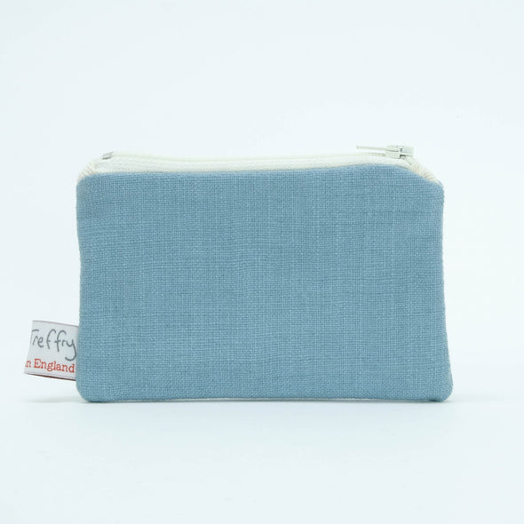 cheeky seagull - embroidered small useful purse (pale blue)