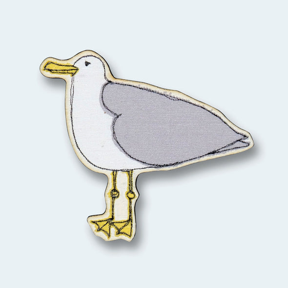 seagull - wooden magnet