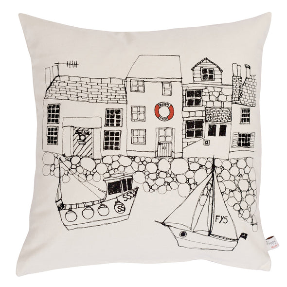 seaside houses - printed cushion cover