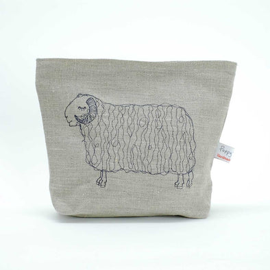 sleepy sheep (natural) - embroidered wash bag