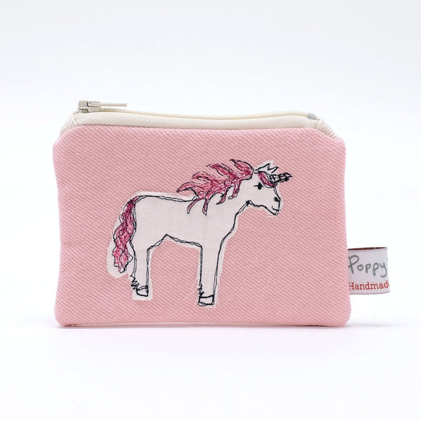 unicorn - embroidered small useful purse
