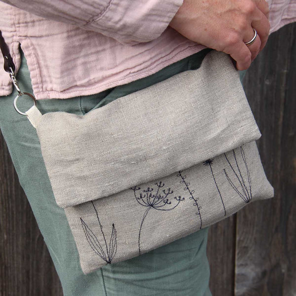 Wild Grasses (natural) - Embroidered love lane cross-body bag