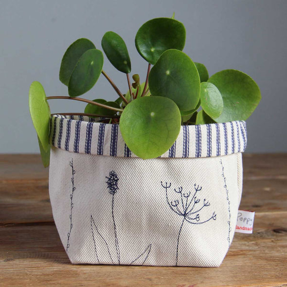 wild flowers - embroidered storage pot