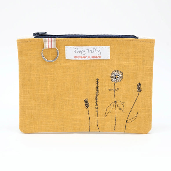 wild grasses - flat embroidered purse with keyring
