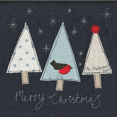 pack of 5 Christmas cards in trees design