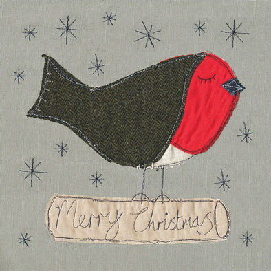 pack of 5 Christmas cards in robin design