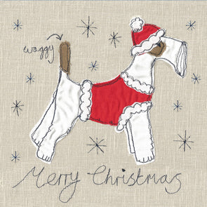 pack of 5 Christmas cards in fox terrier design