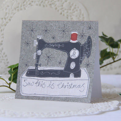 pack of 5 Christmas cards in sewing design