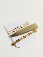 Golden Hair Clips Set