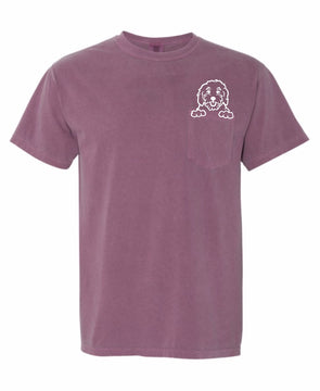 Berry Pocket Doodle Mom Tee made by Royal Collections and Co.