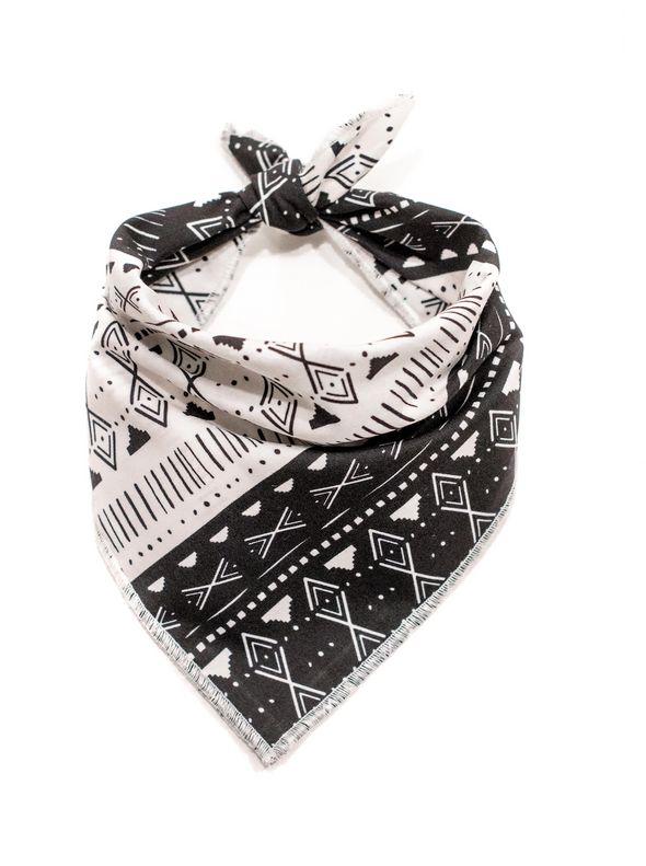 Black and White Aztec Dog Bandana